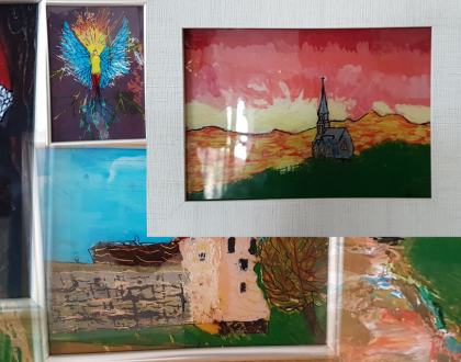 Children's glass paintings